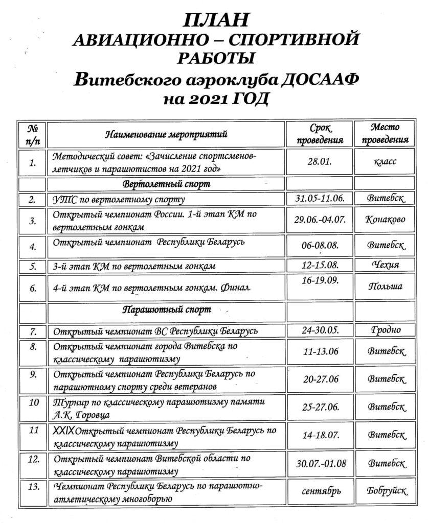 ПЛАН Авиационно-спортивной работы Витебского аэроклуба ДОСААФ